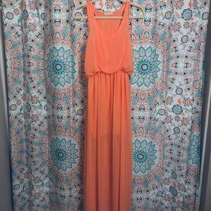 ✨Honey Punch✨ Peach Orange Maxi Dress